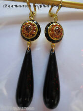Tudor earrings Edwardian Art Deco style vintage topaz crystal black drops LONG