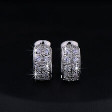 Loop Round Shape Cubic Zirconia Paved Silver Huggie Hoop Earrings For Women Men