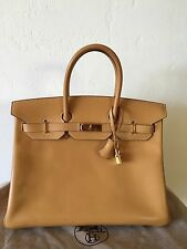 Reduced ! Authentic hermes Birkin 35 Vache Naturelle Gold Hardware/Barenia