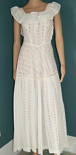 Vintage Flapper Great Gatsby Dress -1930's White Eyelet Formal Prom Gown Size XS
