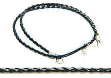 Genuine Leather Necklace Black Braided Woven Cord Strings with Silver Clasp