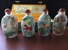 (4) Rare Chinese Inside painted glass snuff Bottles w/ horses~in case~ BA JUN TU