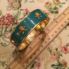 Janna Conner Turquoise Aqua Enamel Skull Cuff Gold Plated Bangle Bracelet