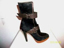 MICHEL PERRY BROWN SUEDE & LEATHER BUCKLED PLATFORM ANKLE BOOTS SIZE 6.5