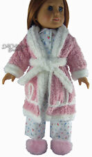 WWII Pink Chenille Bathrobe + Slippers for American Girl Emily Doll Clothes