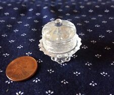 Clear Glass Cake Stand with Lid  - 1:12 scale Dollhouse Miniature