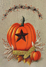 "Pumpkin Berries Fall House Flag Corn Harvest Star Primitive Banner 28"" x 40"""