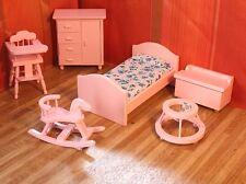 Meubles de poupée CHAMBRE D'ENFANTS 1 rose:12 6 pièces TRAVAIL MANUEL