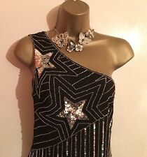 RRP£75 LIPSY Black & Silver Stars Sparkly Shift  Evening Party Mini Dress UK 10