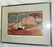 NUDE WOMAN ON BED BY ALFRED DEFOSSEZ SIGNED PRINT FRAMED