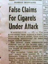 1950 newspaper 1st US Government attack on CIGARETTE ADVERTISING for dishonesty