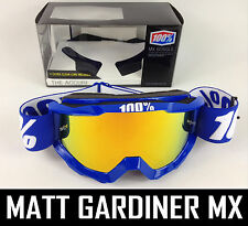 100% PERCENT ACCURI MX MOTOCROSS GOGGLES REFLEX BLUE with FIRE MIRROR LENS bmx