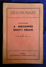 A Midsummer Night Dream, Shakespeare Notes by T W Smith (Brodie PB)