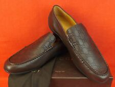NIB GUCCI SAN MARINO CHOCOLATE LEATHER GG GUCCISSIMA DRIVING LOAFERS 11.5 12.5