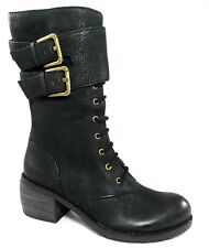 $298 LUXURY REBEL LADY DEE Lace Up Ankle Cuff Moto Boots Block Womens Shoes 35 5