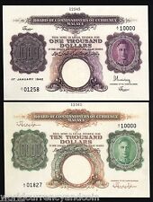 MALAYA $1000 $10000 P16 P17 1942 KING GEORGE VI UNC REPLICA 2 NOTE SINGAPORE SET