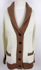 J CREW Wool Mohair Cardigan Brown Ivory Size Small S Womens Sweater with Pockets
