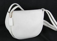 Cashin 1970's Coach Pre-Creed Ivory Leather Full Flap, Double Strap Shoulder Bag