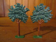 Cast Lead metal Flat Toy TREE LOT OF 2  for Farm Train Vintage Christmas Display