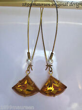 Art Deco Art Nouveau earrings vintage topaz glass drop 1920s style very long