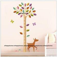WOODLAND TREE & DEER Wall Stickers Decal Height Chart Nursery Child Kids Bedroom