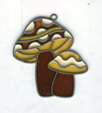 2 MUSHROOMS Stained Glass Sun-Catcher Window CHRISTMAS TREE ORNAMENT DECOR RARE!