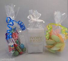 """100 x clair Sweet Candy Cadeau, Party, affichage sacs avec gousset 9 """"x 3"""" x 2 """""""