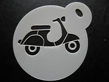 Laser cut small vespa scooter design cake, cookie and craft stencil