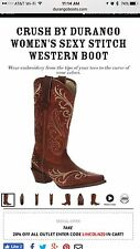 Durango Crush Brown Cowgirl Western Boots DCRD133 Sexy Stitch Women's 6.5