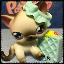 Littlest Pet Shop LPS GREY AND WHITE SIAMESE CAT # 5 w/ bow (3)