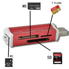 High Speed Red USB2.0 Mini Size Micro SD TF M2 MS T-Flash Card Reader Adapter