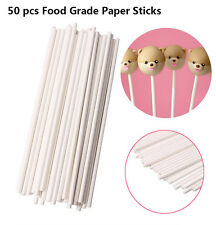 "6"" 50X White Cake Pop Sticks Lollipop Lollies Crafts Paper Dowels,Sweets,Lolly"