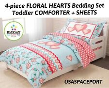 4pc HEARTS + ROSES Flowers Toddler Bed-in-a-Bag COMFORTER + SHEETS SET Room Crib