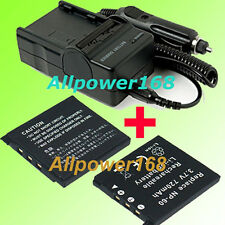 Battery + Charger for NP-60 Casio Exilim EX-S10A EXS10A EXS10A EX-S10 EX-Z9