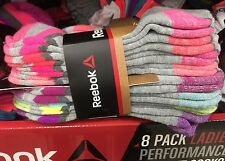 New Women's REEBOK 8 Pack Low Cut Sport Performance Socks Gray Running Crossfit