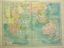 1920 LARGE MAP ~ INDIAN OCEAN COMMUNICATIONS SUEZ CANAL WIRELESS STEAMER ROUTES