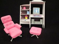 barbie entertainment center with tv, stereo and flowers, and chair with ottoman