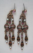 Estate Sale NEW Joan Rivers Crystal Pink Bow Drop Dangle Copper Earrings NIB
