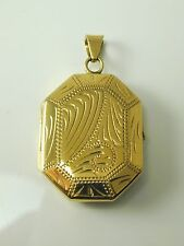 BEAUTIFUL VINTAGE 9CT GOLD FLORAL OCTAGONAL LOCKET 6.4g