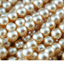 140 Pearl Beads 6mm Champagne Color Imitation Acrylic Round Loose Pearl Spacer