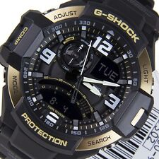 *NEW* CASIO MENS G SHOCK AVIATION GOLD WATCH TWIN SENSOR GA1000-9G RRP£259