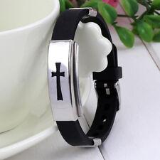 Men's Cross Bracelet Rubber Wristband Fashion Black Stainless Steel Christian