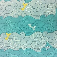 RPG492C Sea Moby Dick Whale Fish Ocean Wave Mermaid Tail Cotton Quilt Fabric