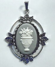 "Large Wedgwood Oval Jasperware Cameo in Silver-Plated Pendant ""Urn With Flowers"