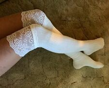 Lace Top Over The Knee Socks Womens OTK Thigh High White Ribbed Cozy School Boot