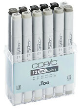 COPIC .TOO MARKER - 12 WARM GREY SET - TWIN TIPPED - 12 UNIQUE COLOURS