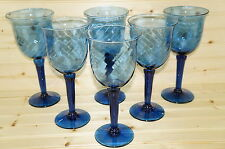 "(6) Cobalt Blue Optic with Flare Iced Tea 22 oz Goblets-9 5/8"" Tall Hand Blown"