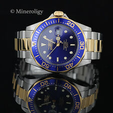 NEW Invicta Pro Diver Gold Plated Blue Dial Two Tone Stainless Steel Mens Watch