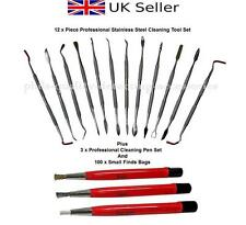 PQDA. Metal Detecting, Coin Cleaning 12 x Stainless Steel Tools+3 Cleaning Pens.