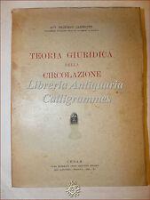 DIRITTO: Franesco Carnelutti, TEORIA GIURIDICA della CIRCOLAZIONE 1933 Cedam